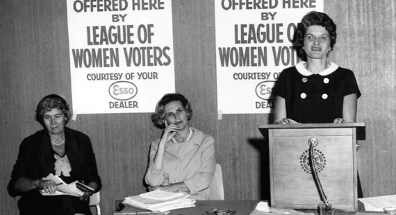 Mrs. Groban and Mrs. Pollak at a meeting for The League of Women Voters